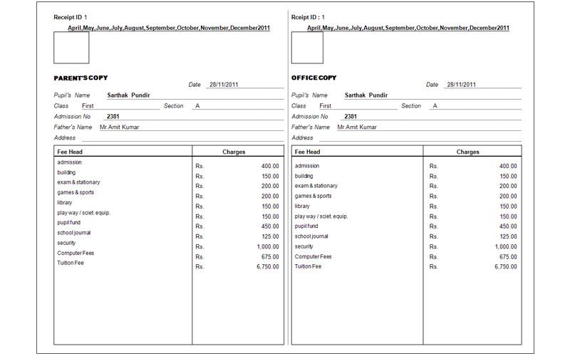Fee Receipt Format Arch Times
